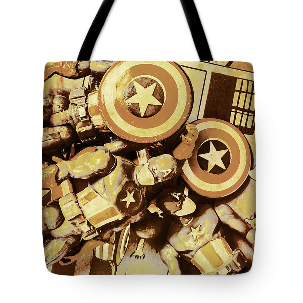 Toy Tote Bag featuring the photograph Action Figure Comic Strip by Jorgo Photography - Wall Art Gallery
