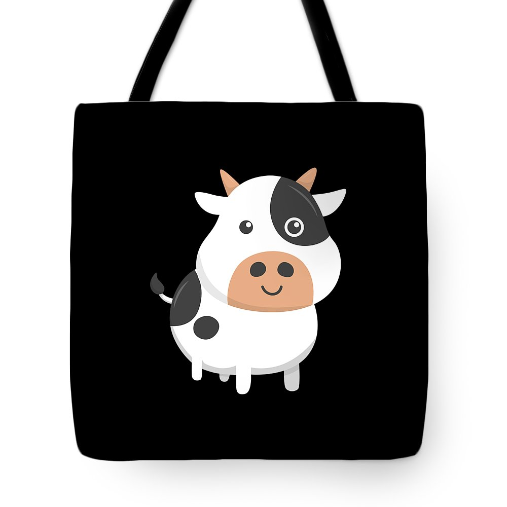 Adorable-cow Tote Bag featuring the digital art Adorable Cow Cute Baby Calf by The Perfect Presents