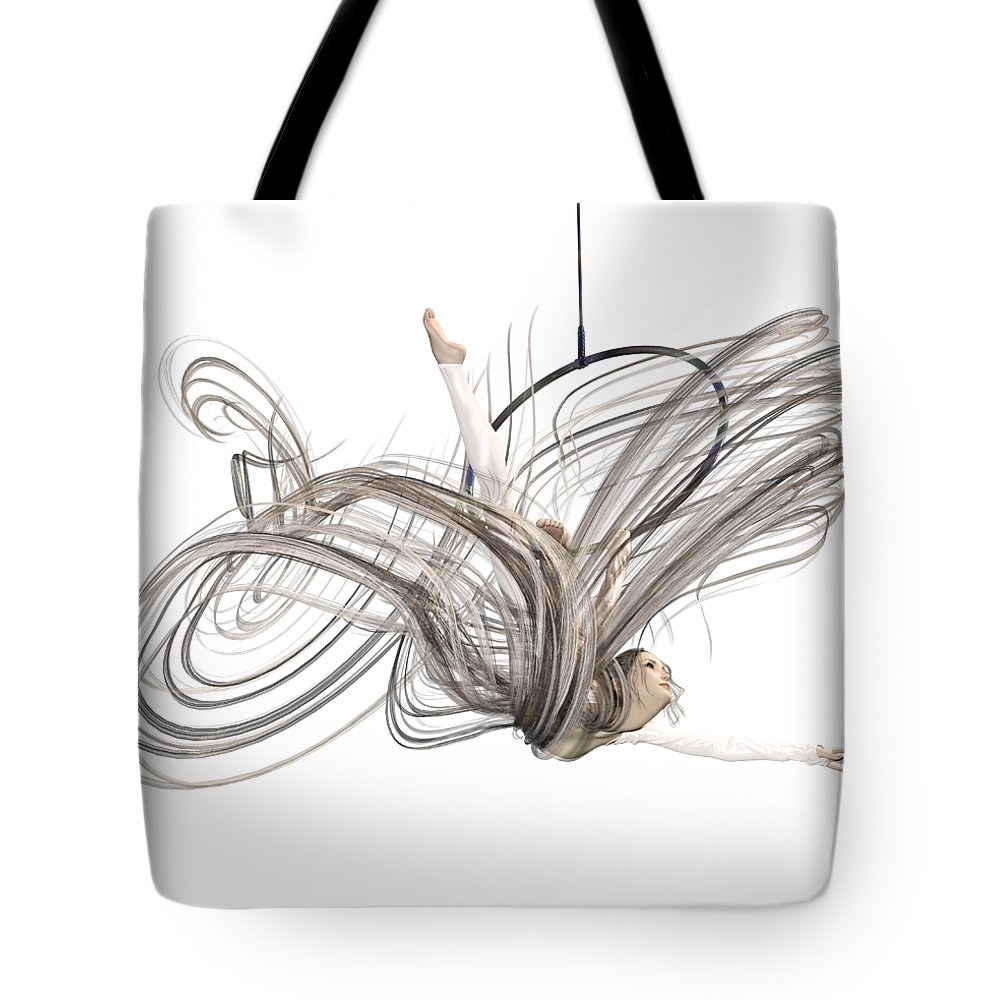 Dance Tote Bag featuring the digital art Aerial Hoop Dancing I Am Flight by Betsy Knapp