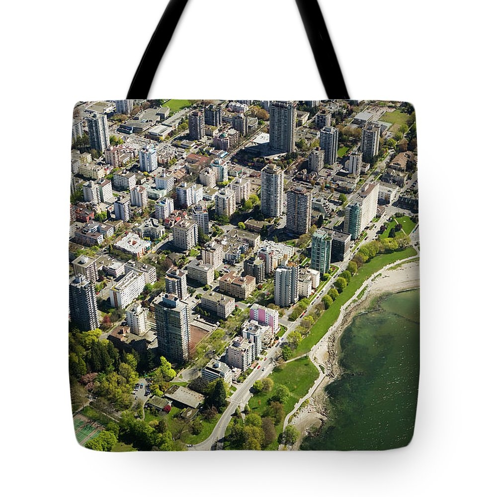 Outdoors Tote Bag featuring the photograph Aerial Of West End, Vancouver by Lucidio Studio, Inc.