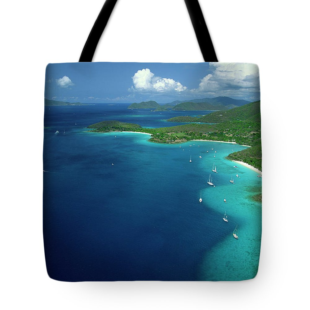 Sailboat Tote Bag featuring the photograph Aerial View Of Shoreline by Don Hebert