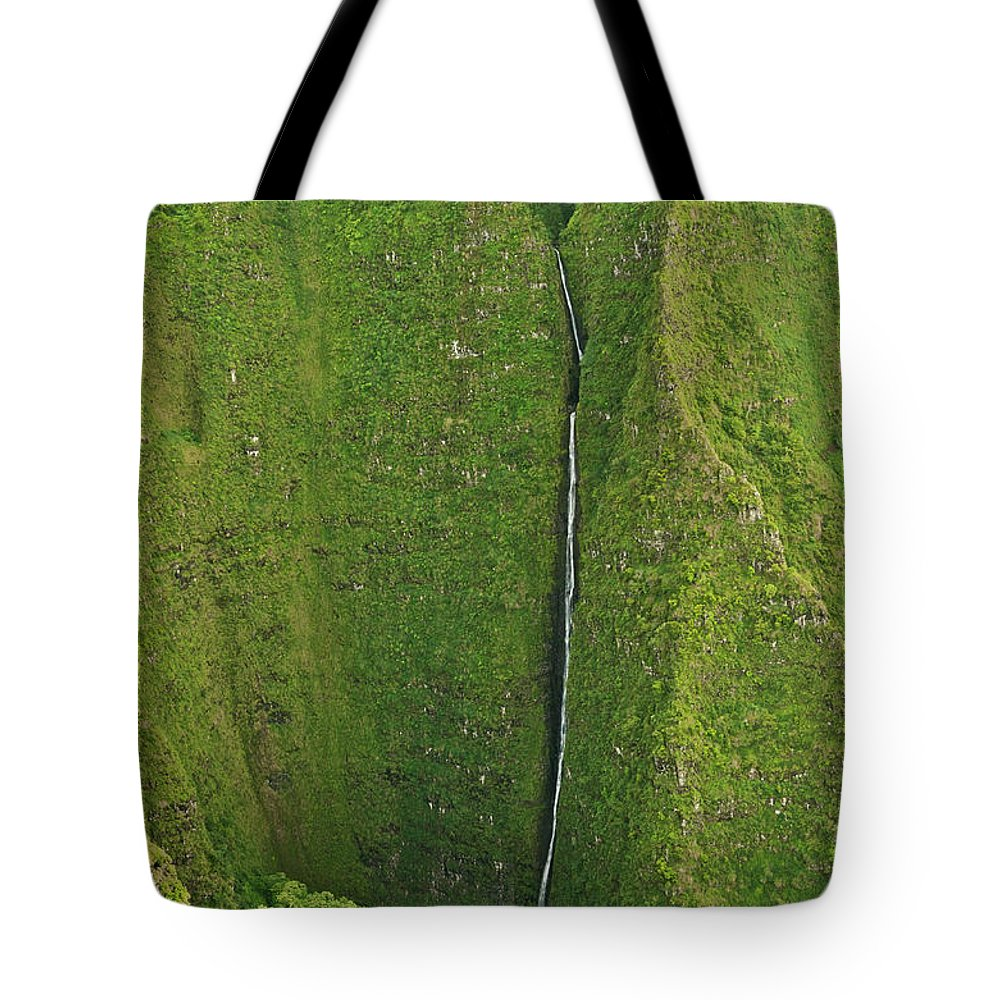 Scenics Tote Bag featuring the photograph Aerial View Of Waterfall In Narrow by Enrique R. Aguirre Aves