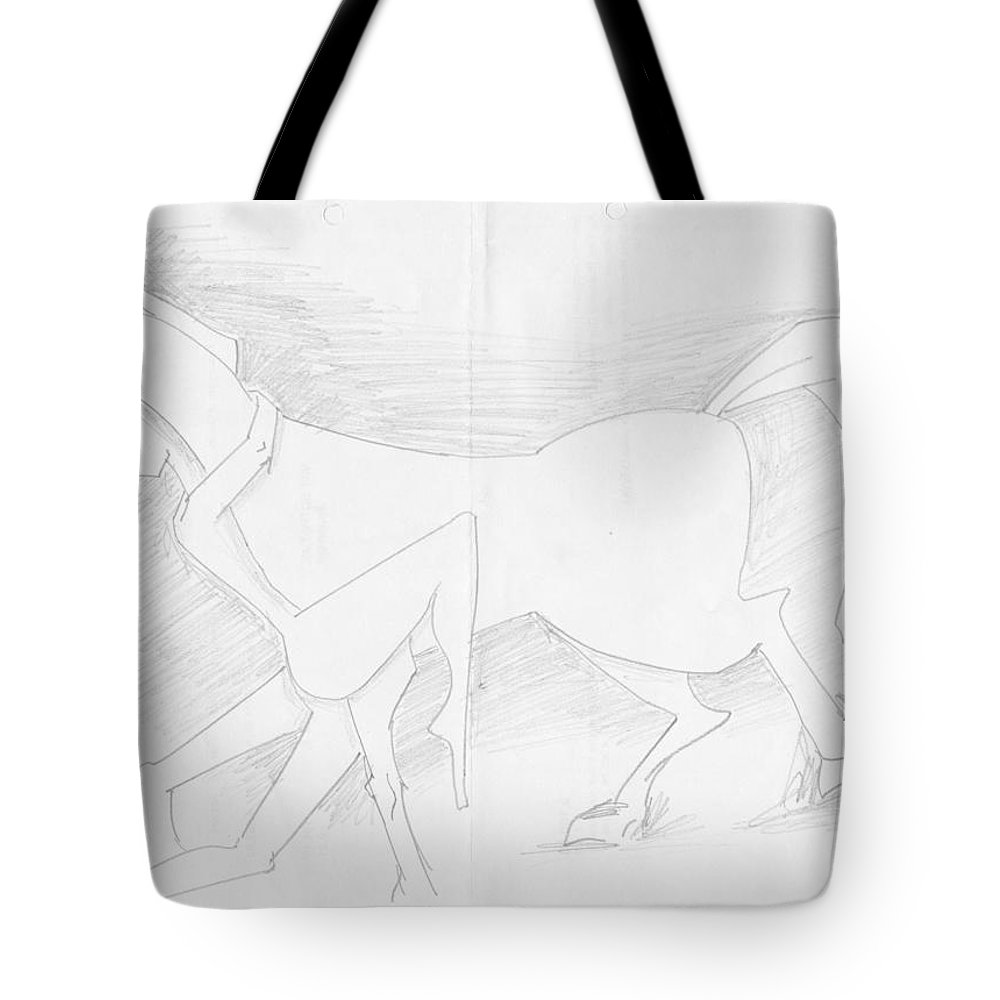 Pencil Work On Paper Tote Bag featuring the drawing Affection by Mustafa Attari