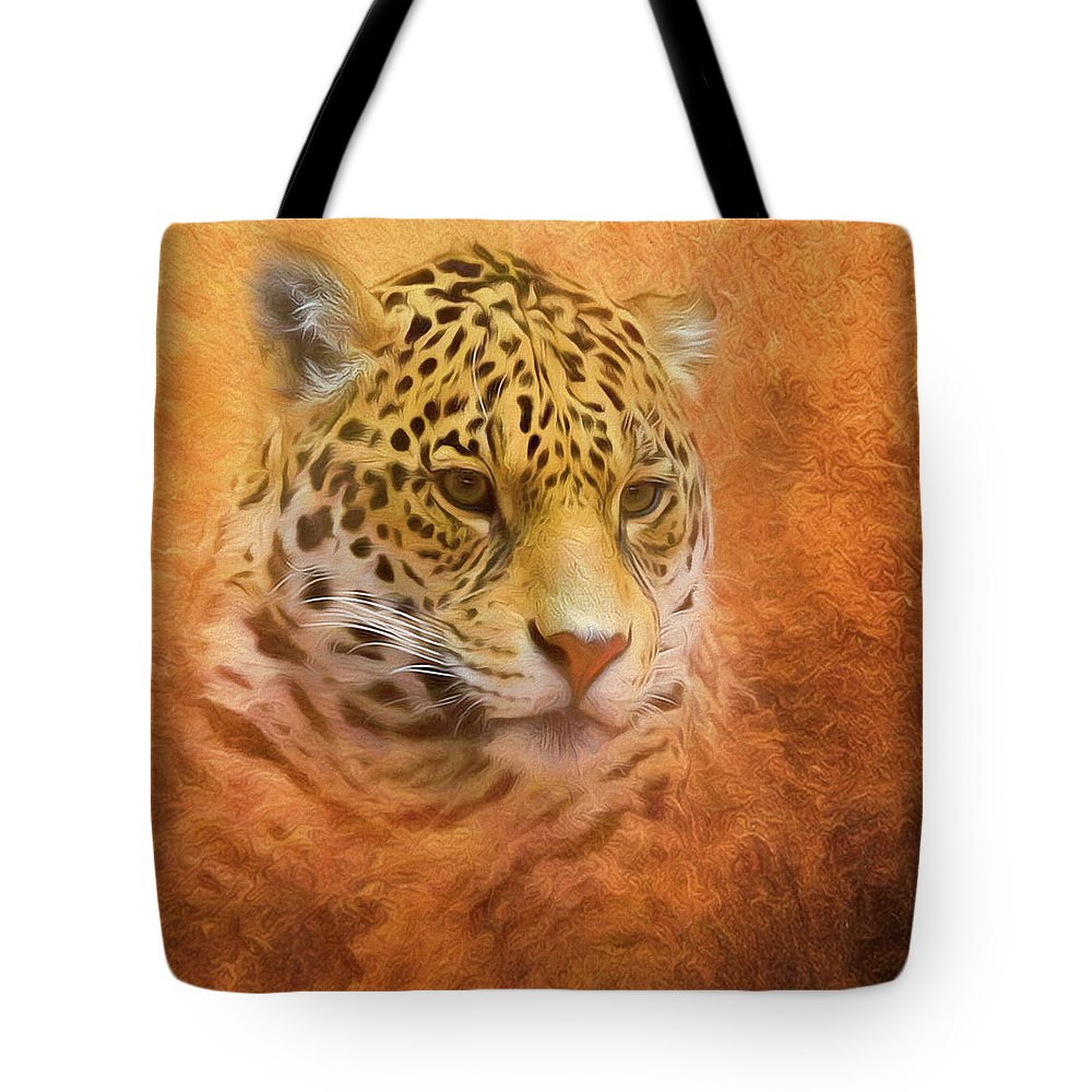 Leopard Tote Bag featuring the mixed media African Leopard by Steven Richardson