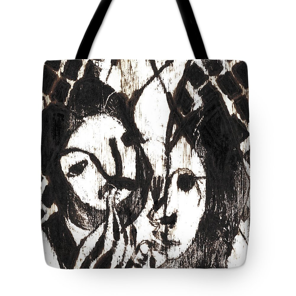 Michel Larionov Tote Bag featuring the painting After Mikhail Larionov Black Oil Painting 14 by Edgeworth DotBlog