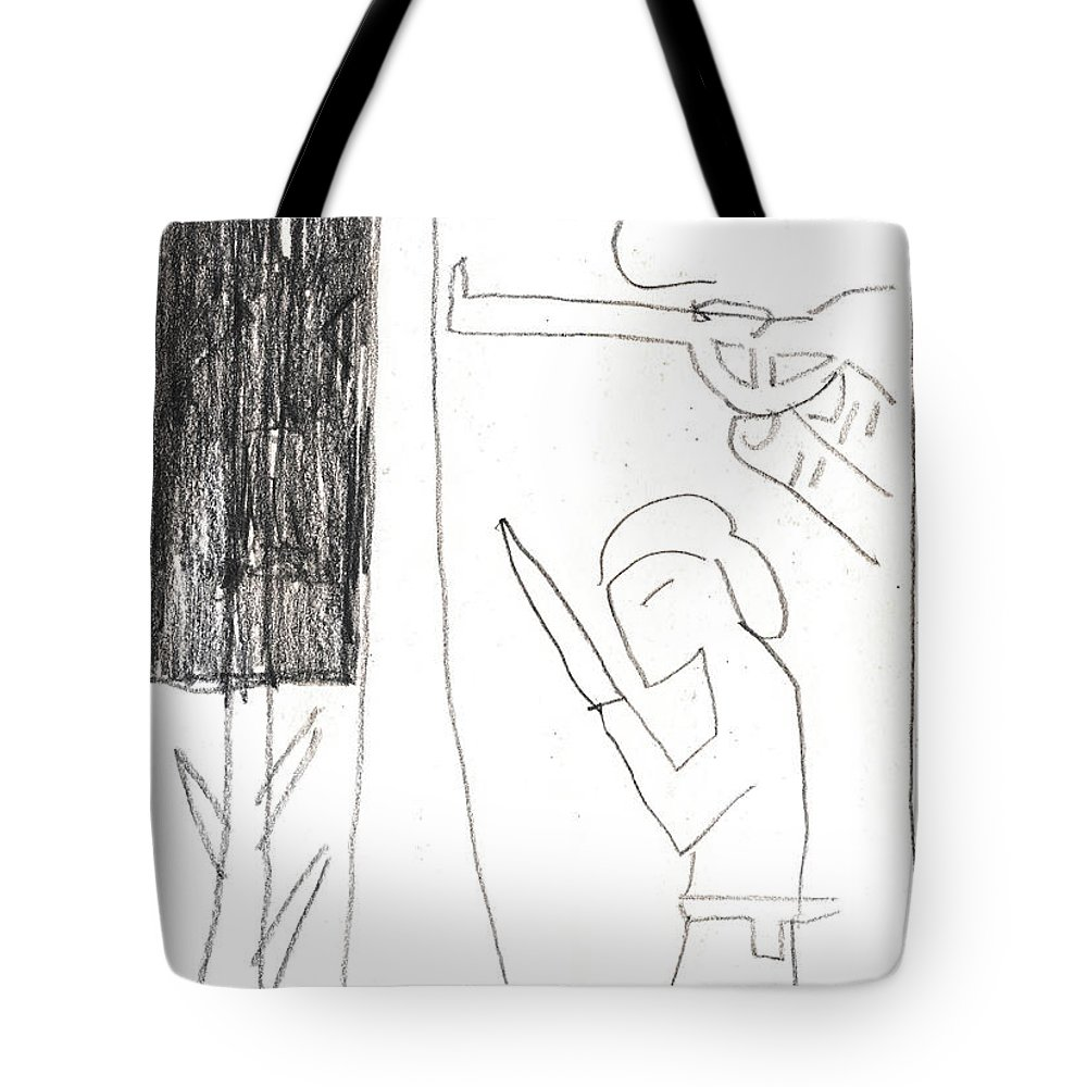 Michel Larionov Tote Bag featuring the drawing After Mikhail Larionov Pencil Drawing 10 by Edgeworth DotBlog