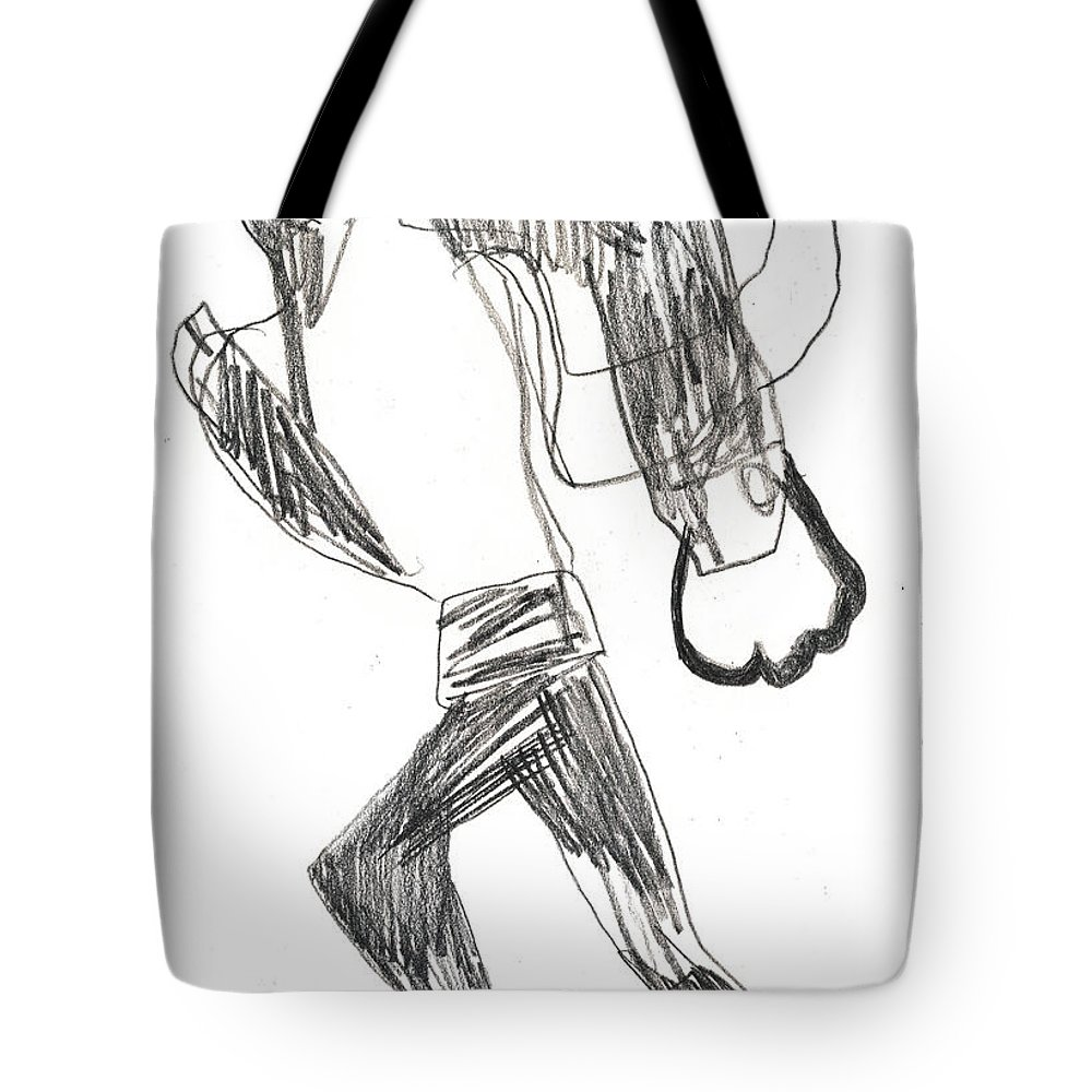 Michel Larionov Tote Bag featuring the drawing After Mikhail Larionov Pencil Drawing 12 by Edgeworth DotBlog