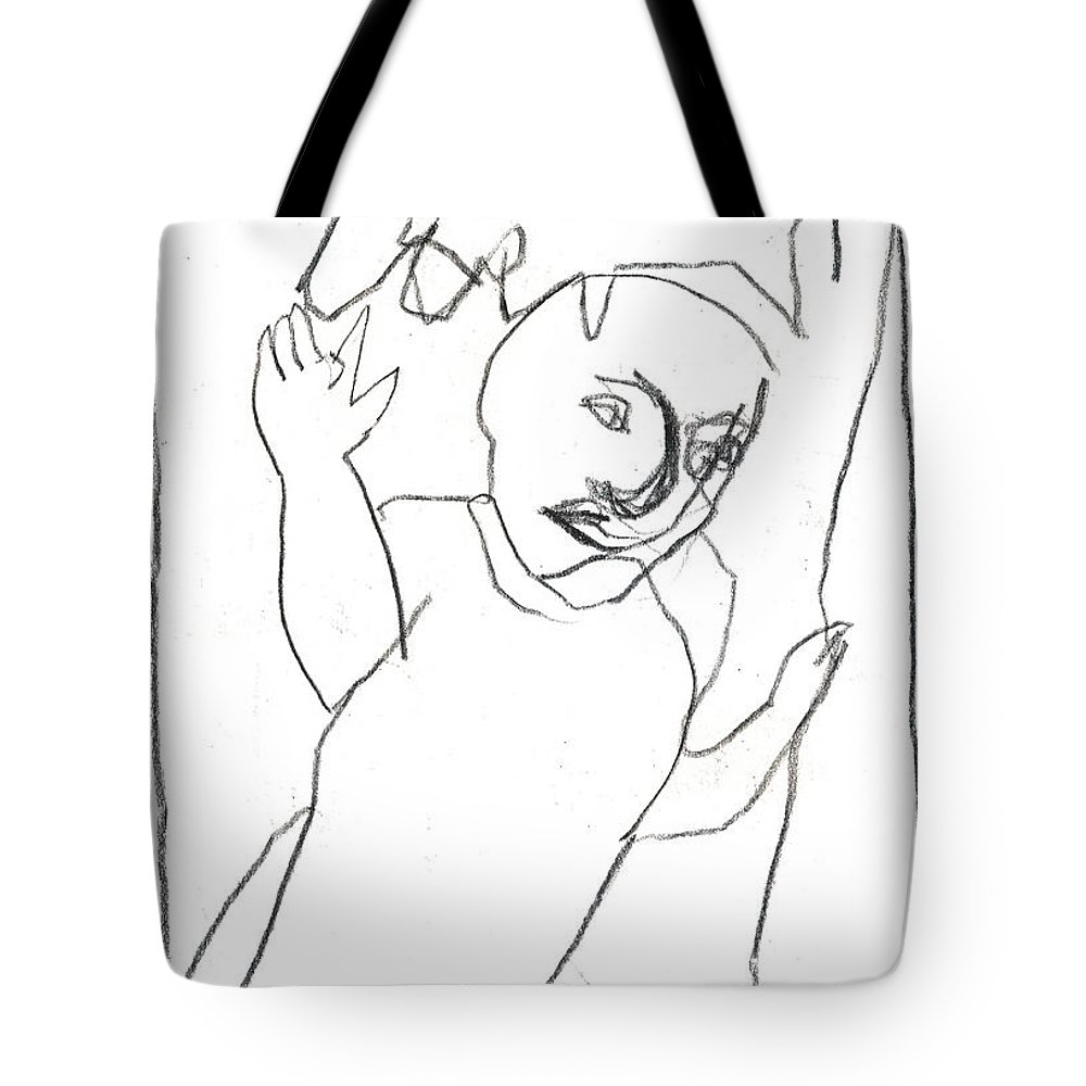 Michel Larionov Tote Bag featuring the drawing After Mikhail Larionov Pencil Drawing 16 by Edgeworth DotBlog