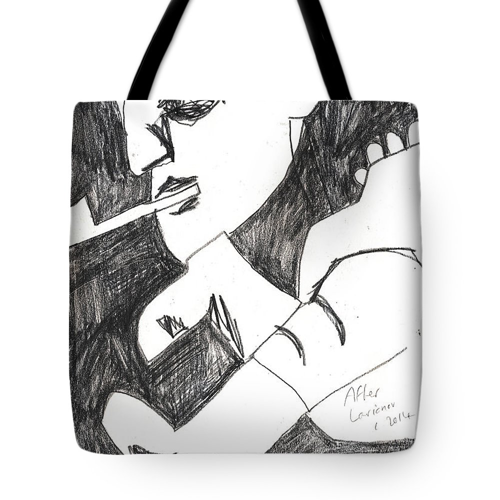 Michel Larionov Tote Bag featuring the drawing After Mikhail Larionov Pencil Drawing 4 by Edgeworth DotBlog