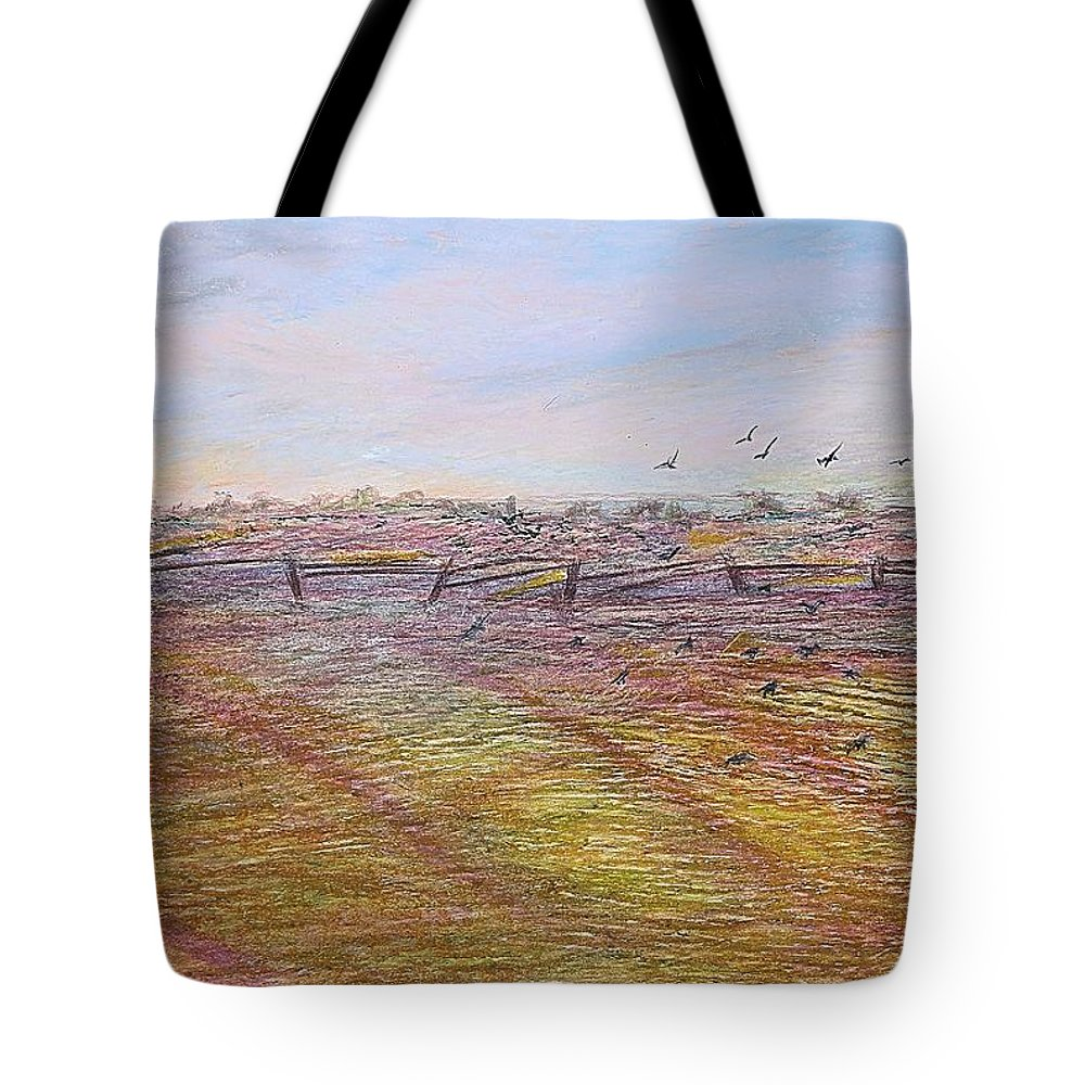 Landscape Tote Bag featuring the painting After The Harvest by Norma Duch