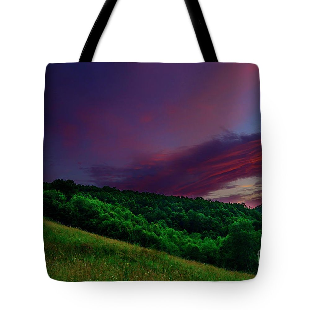 Sunset Tote Bag featuring the photograph After The Storm Afterglow by Thomas R Fletcher