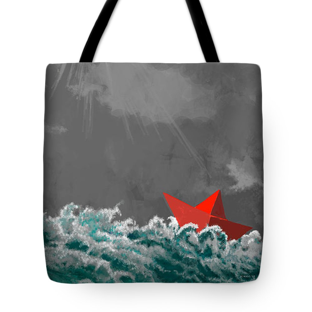 Paper Boat Tote Bag featuring the digital art After The Storm by Juan Carlos Rios