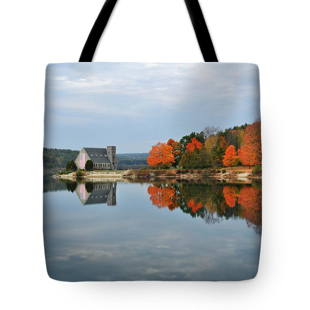 Autumn Tote Bag featuring the photograph Afternoon Reflection At Wachusett Reservoir by Luke Moore