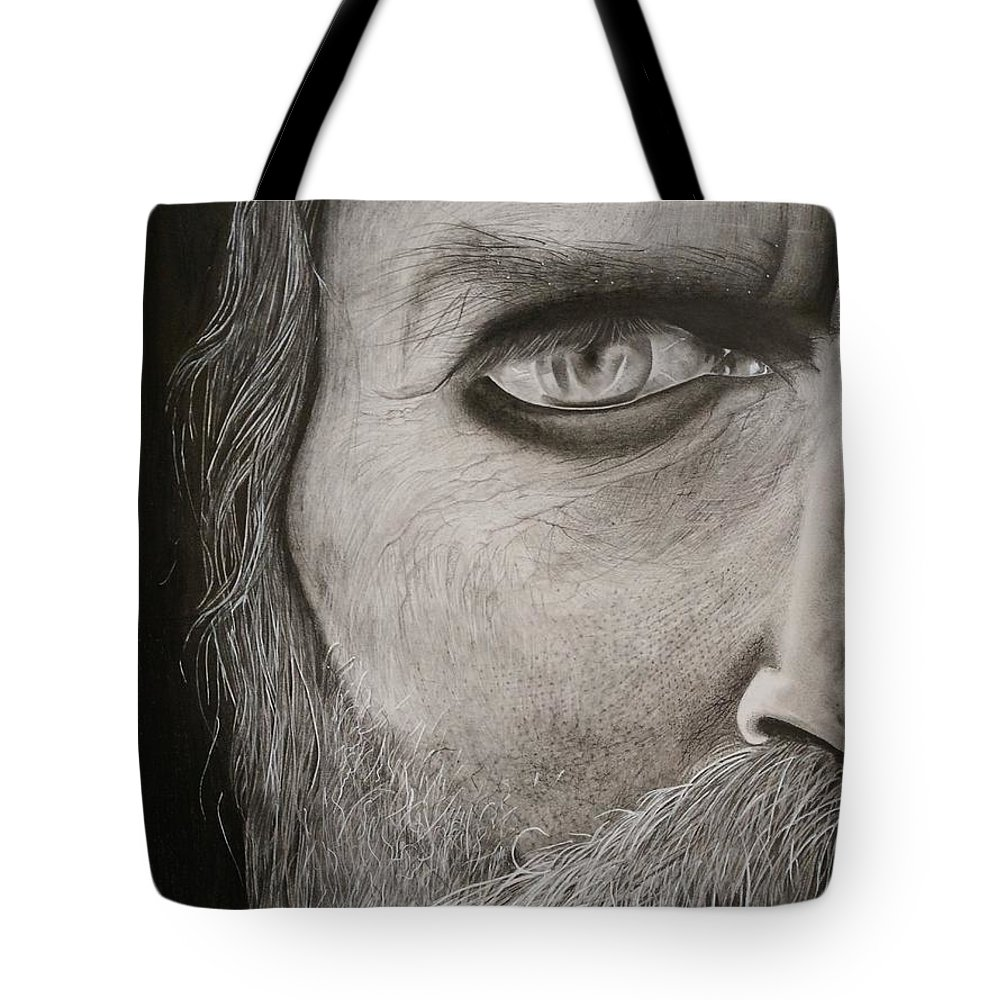 Portrait Tote Bag featuring the drawing Aghor by Piyush Verma