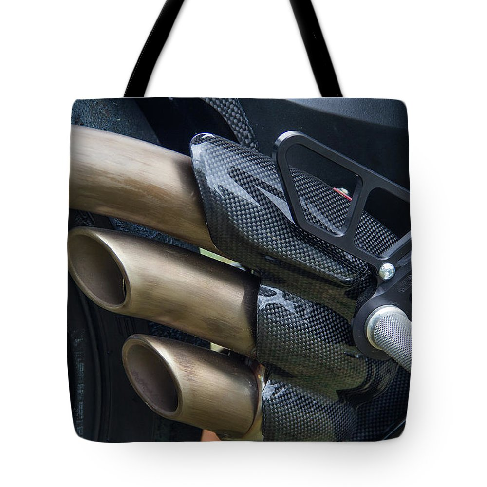 Tote Bag featuring the photograph Agusta Racer Pipes by Bill Ryan