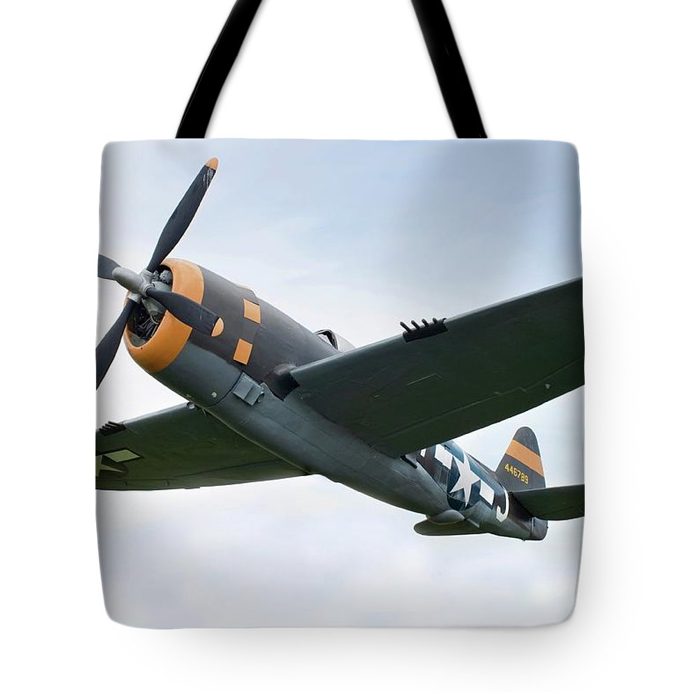 Air Attack Tote Bag featuring the photograph Airplane P-47 Thunderbolt From World by Okrad