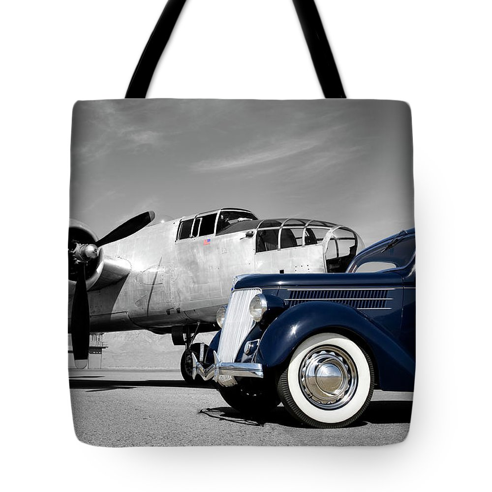 Propeller Tote Bag featuring the photograph Airplanes And Cars by Sierrarat