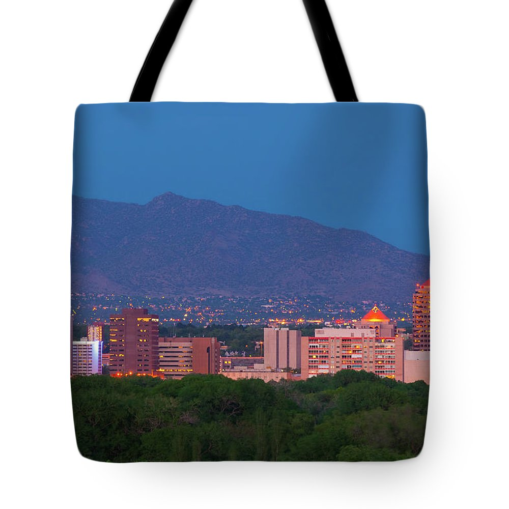 Downtown District Tote Bag featuring the photograph Albuquerque Skyline At Dusk by Davel5957