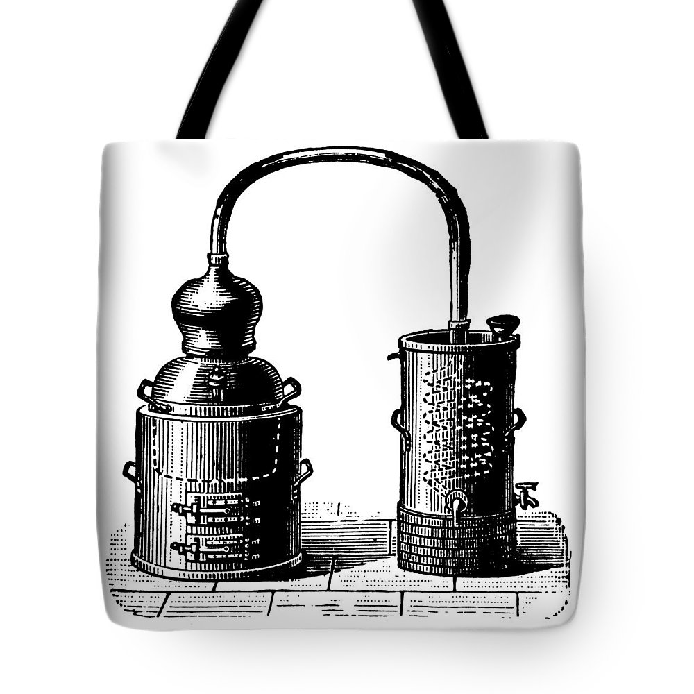 Engraving Tote Bag featuring the digital art Alembic | Antique Design Illustrations by Nicoolay