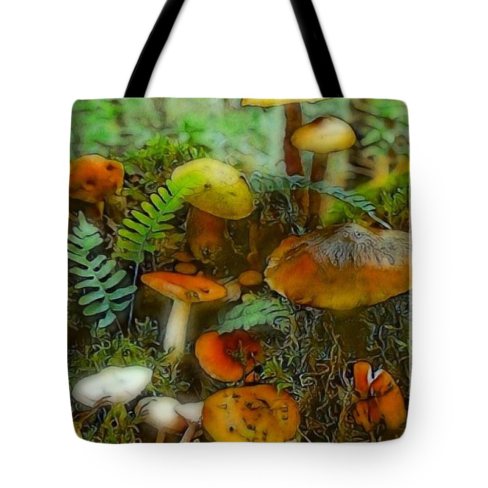 Mushrooms Tote Bag featuring the digital art All Caps by Ellen Cannon
