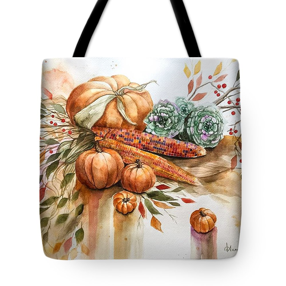 Fall Tote Bag featuring the painting All The Colors by Denise Armstrong