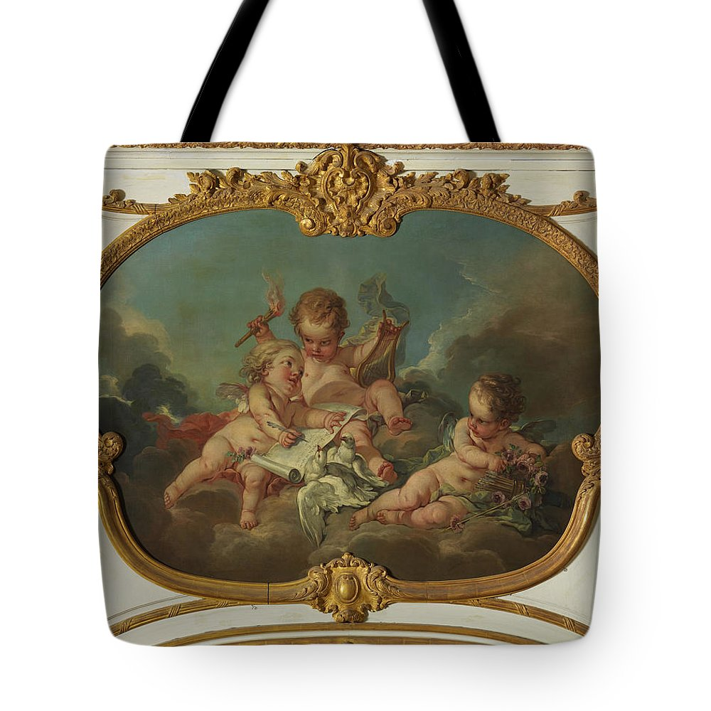 Francois Boucher And Workshop Tote Bag featuring the painting Allegory Of Lyric Poetry by Francois Boucher and Workshop
