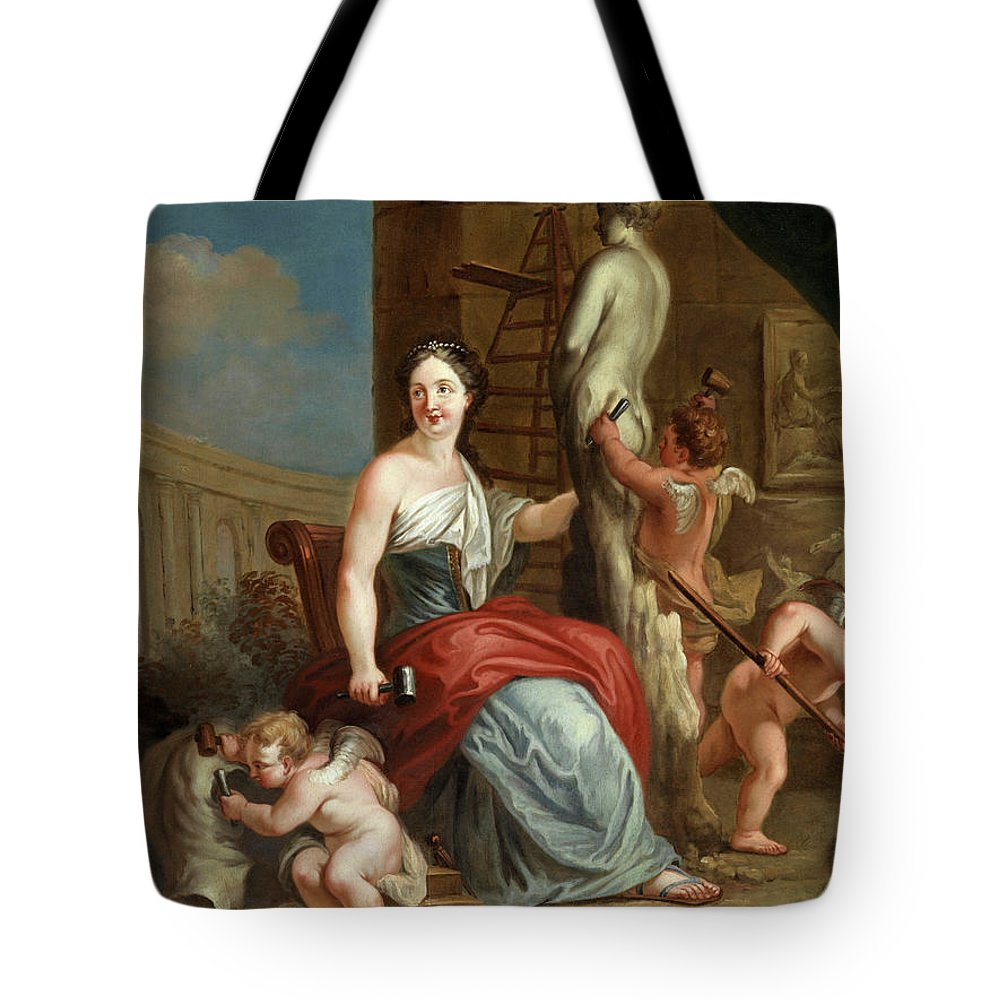 Louis Gabriel Blanchet Tote Bag featuring the painting Allegory Of Sculpture And Architecture by Louis Gabriel Blanchet