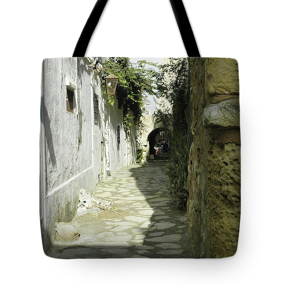 Alley Tote Bag featuring the photograph alley in Hammamet, Tunisia by Victor Lord Denovan