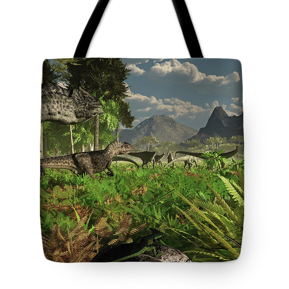 Toughness Tote Bag featuring the digital art Allosaurus And Diplodocus Dinosaurs by Arthur Dorety/stocktrek Images