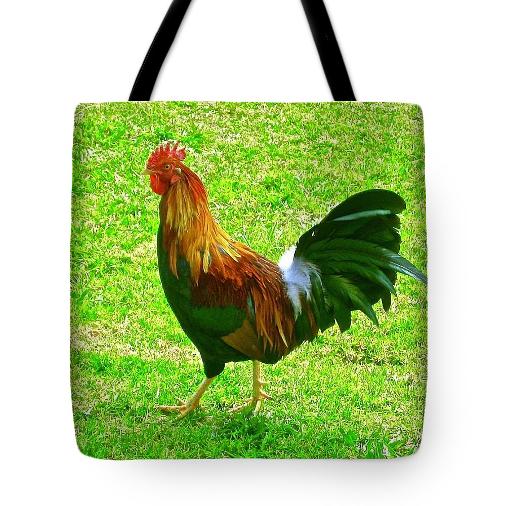 Rooster Tote Bag featuring the photograph Aloha Doodle-doo by Janice Petrella-Walsh