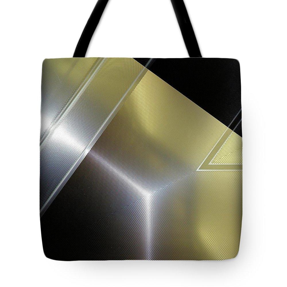 Fashion Tote Bag featuring the digital art Aluminum Surface. Metallic Geometric Image.  by Rudy Bagozzi