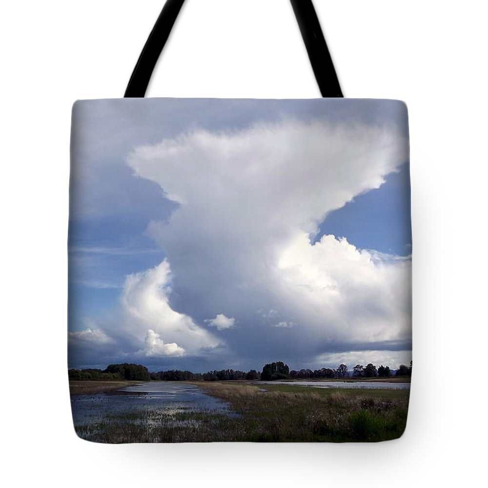 Clouds Tote Bag featuring the pyrography Amazing Cloud by Linda Vanoudenhaegen
