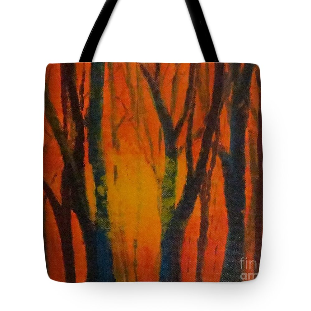 Amber Tote Bag featuring the painting Amber Tree by Caroline Cunningham