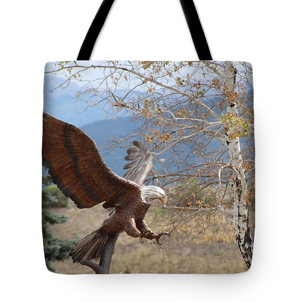 Eagle Tote Bag featuring the photograph American Eagle in Autumn by Colleen Cornelius