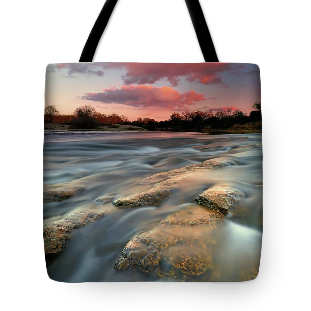 Scenics Tote Bag featuring the photograph American River Parkway At Sunset by David Kiene