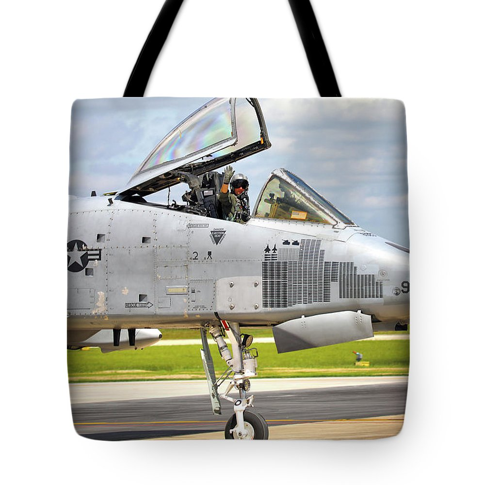 A-10 Tote Bag featuring the photograph American Warrior by Mitch Cat