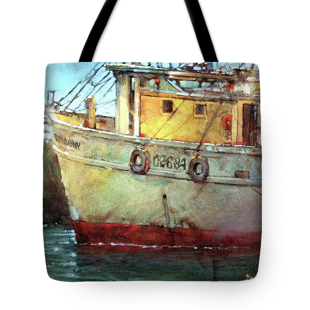 Fishing Boat. Shrimp Boat. Rusty Boat. Old Boat. Beaufort. Beaufort Tote Bag featuring the painting American Work IIi by Dan Nelson
