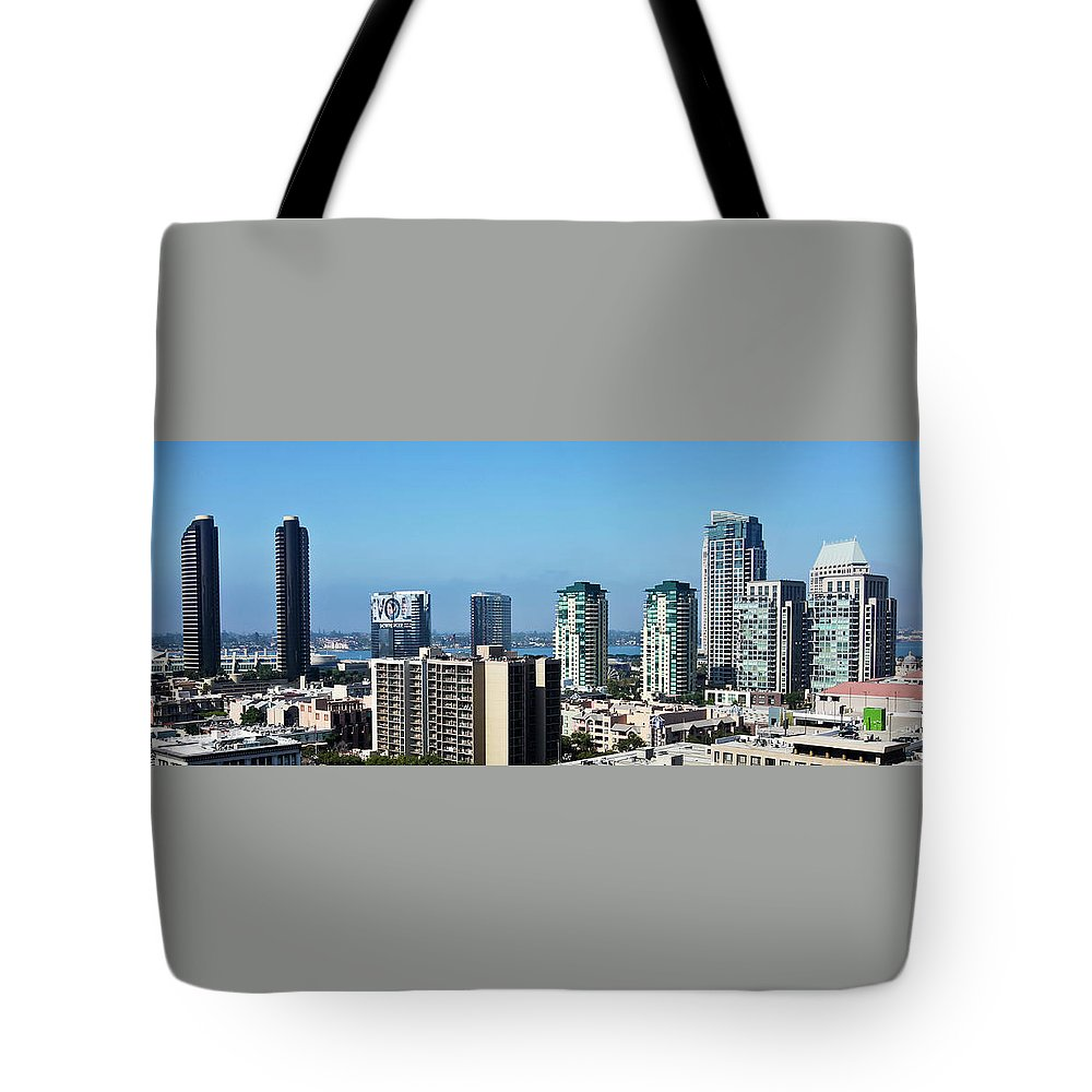 San Tote Bag featuring the photograph An Aerial View Of Downtown San Diego, Ca, Usa by Derrick Neill
