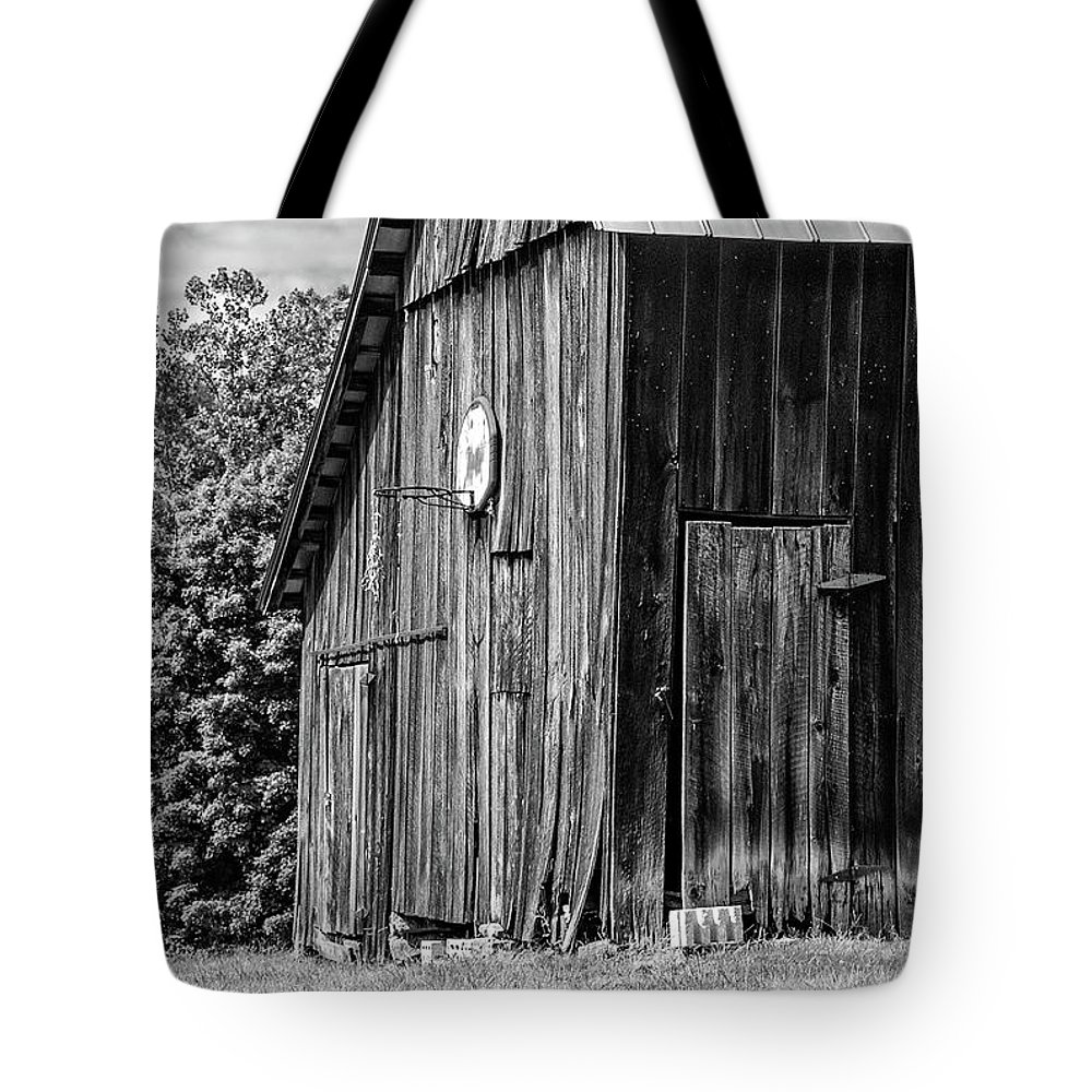 Landscape Tote Bag featuring the photograph An American Barn Bw by Steve Harrington
