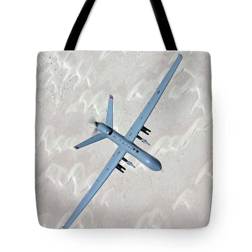 Aerodynamic Tote Bag featuring the photograph An Mq-9 Reaper Flies A Training Mission by High-g Productions/stocktrek Images