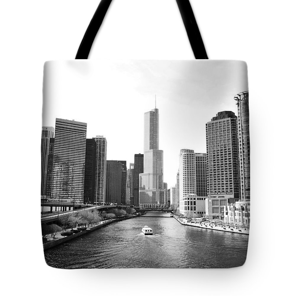 Chicago River Tote Bag featuring the photograph An Unknown Skyline Along The Chicago by Ricardo Montiel