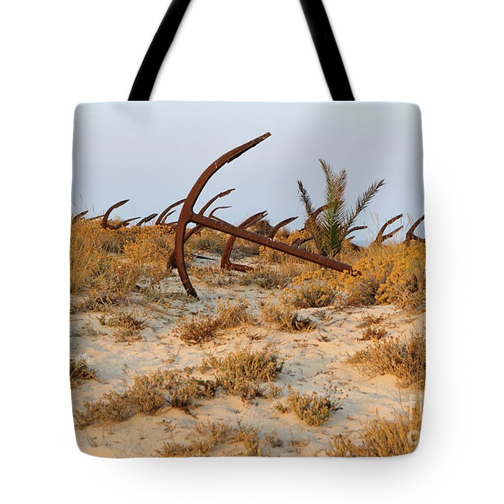 Praia Do Barril Tote Bag featuring the photograph Anchors In Barril Beach by Angelo DeVal