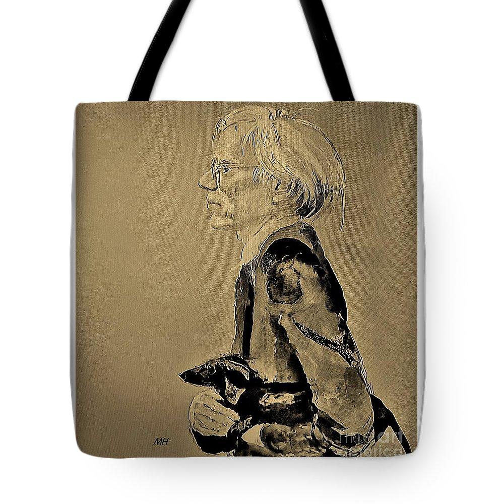 Andy Warhol Tote Bag featuring the photograph Andy Warhol Painted By Jamie Wyeth by Marsha Heiken