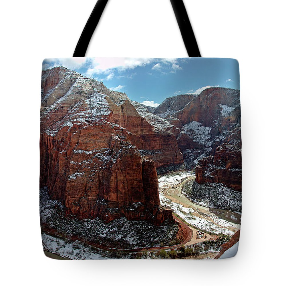 Scenics Tote Bag featuring the photograph Angels Landing View From Top by Daniel Osterkamp