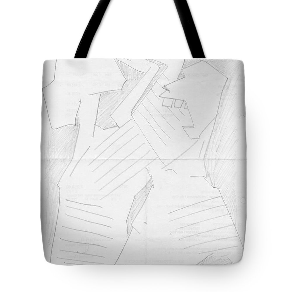 Pencil Work On Paper Tote Bag featuring the drawing Anger by Mustafa Attari