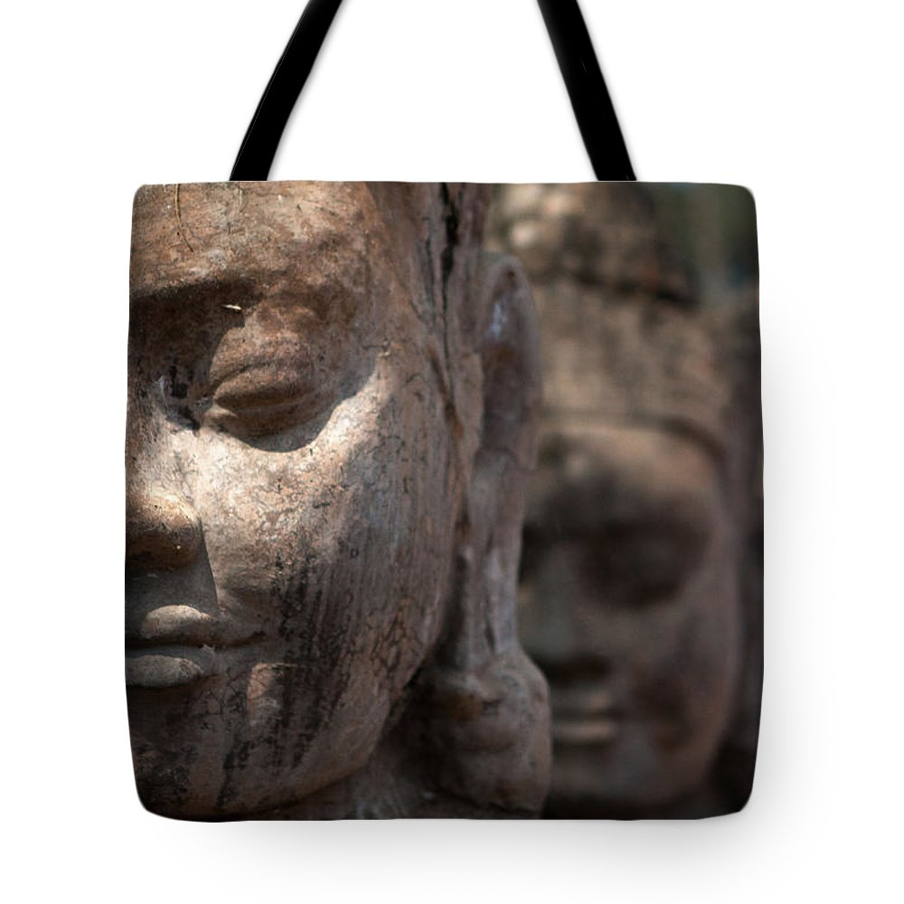 Art Tote Bag featuring the photograph Angkor Warriors by Romulo Rejon