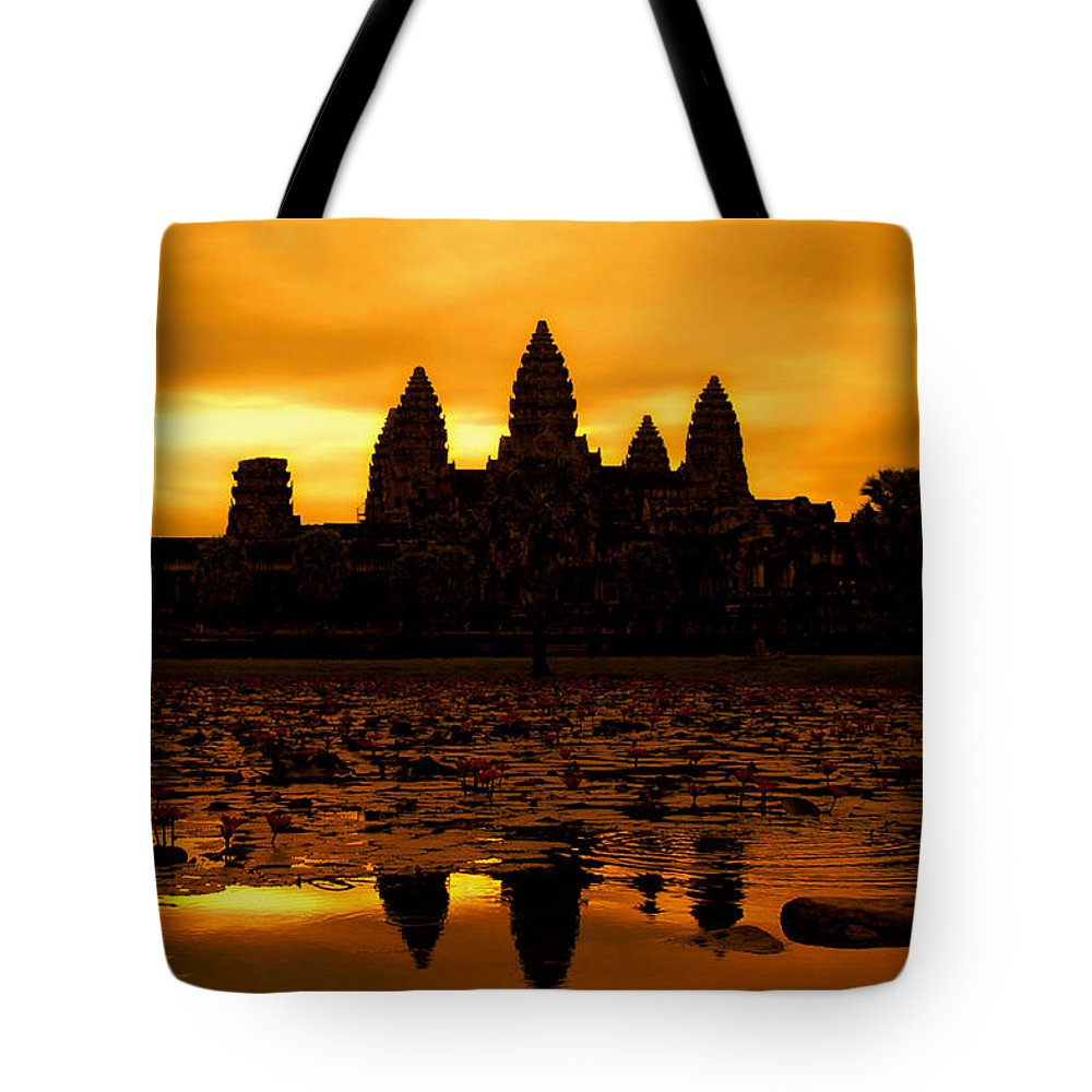 Cambodian Culture Tote Bag featuring the photograph Angkor Wat At Sunrise by David Lazar