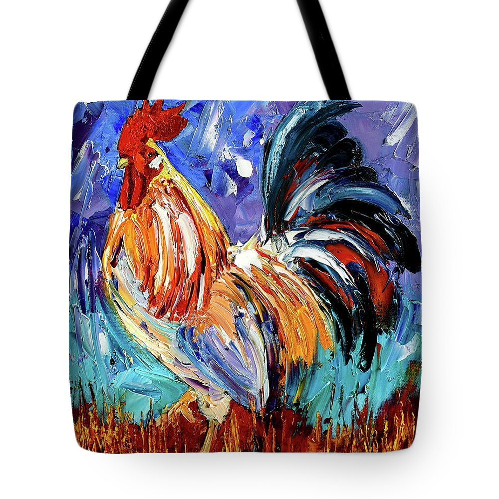 Rooster Tote Bag featuring the painting Another Day by Debra Hurd