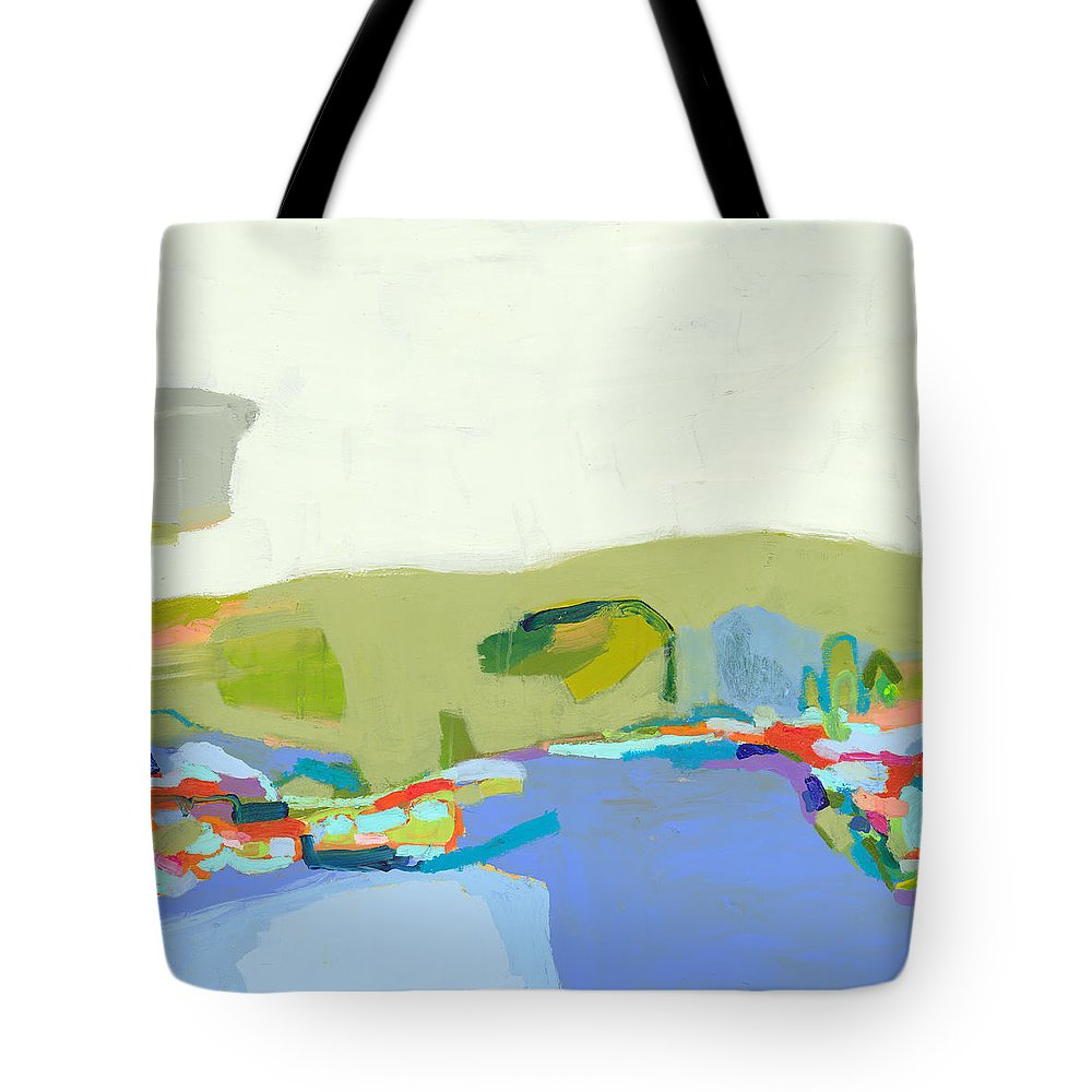 Abstract Tote Bag featuring the painting Another Place by Claire Desjardins