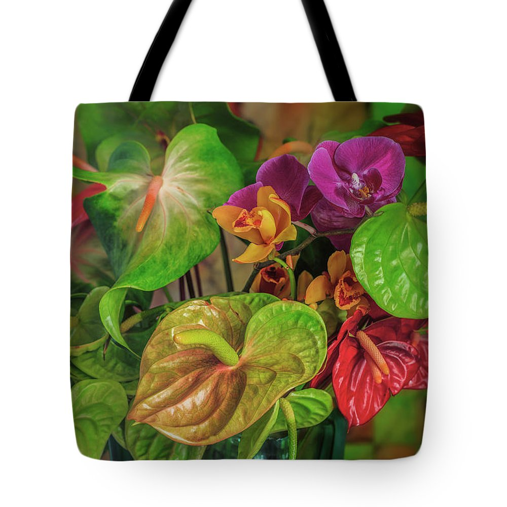 Anthurium Tote Bag featuring the photograph Anthurium Riot by Jade Moon